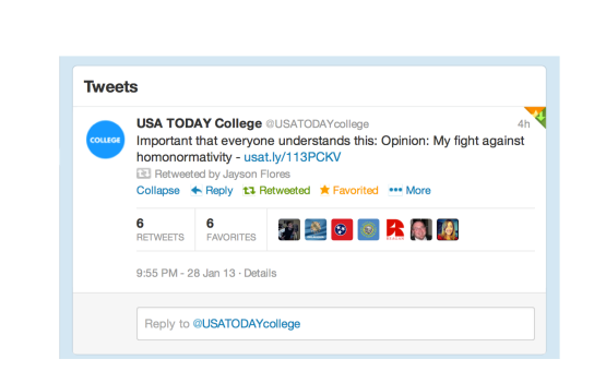 USA Today College Tweet copy